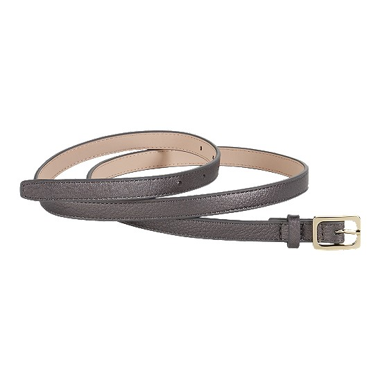 Cole Haan Village Soft Skinny Rectangle Belt Gunsmoke