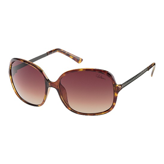 Cole Haan Square Etched Genevieve Temple Sunglasses Tortoise