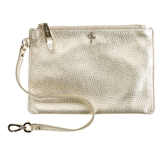 Cole Haan Jitney Medium Zip Pouch White Gold