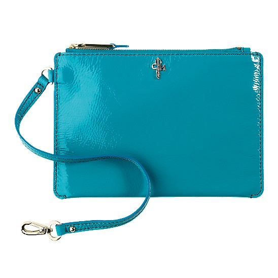 Cole Haan Jitney Medium Zip Pouch Caribbean Patent