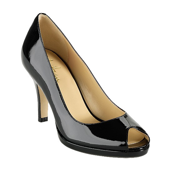 Cole Haan Carma Open Toe Air Pump Black Patent