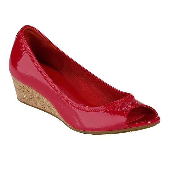 Cole Haan Air Tali Open Toe Wedge 43 Tango Red Patent/Cork