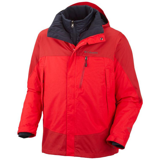 COLUMBIA MENS LHOTSE MOUNTAIN™ II INTERCHANGE JACKET BRIGHT RED