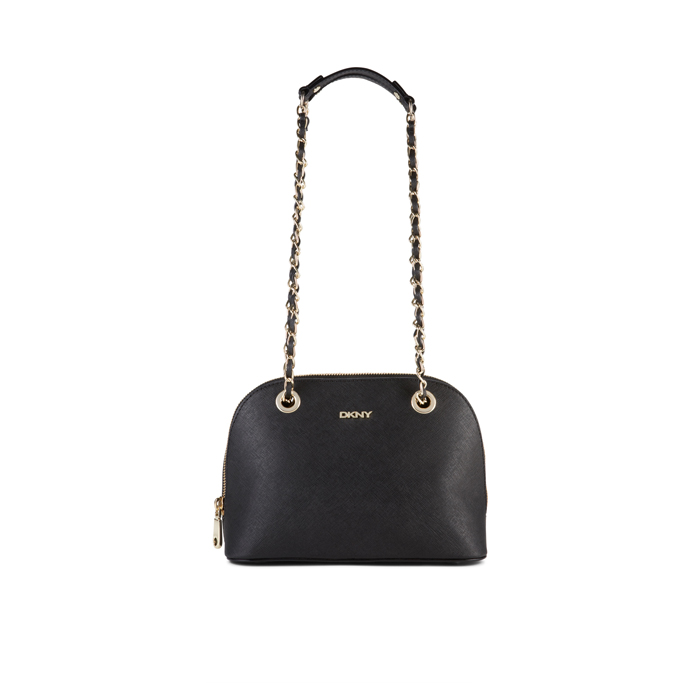 BLACK DKNY SAFFIANO LEATHER CHAIN SATCHEL