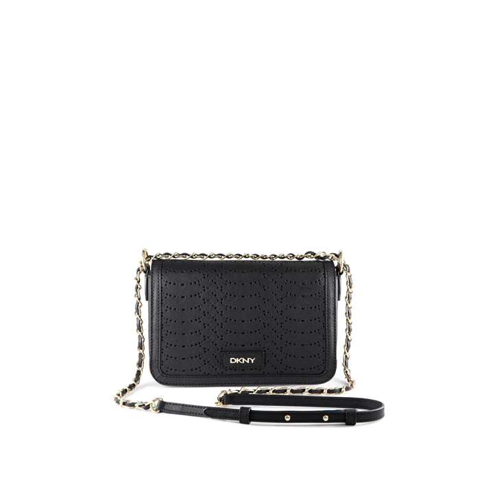 BLACK DKNY SAFFIANO PERFORATED LEATHER CROSSBODY
