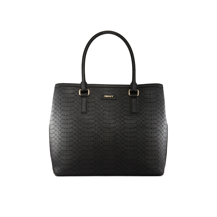 BLACK DKNY SAFFIANO PERFORATED LEATHER TOTE