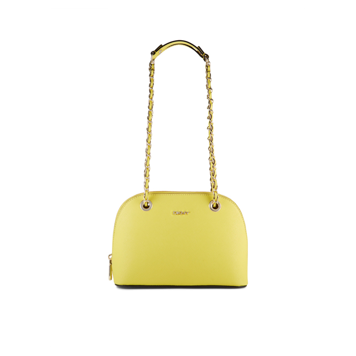 YELLOW DKNY SAFFIANO LEATHER CHAIN SATCHEL