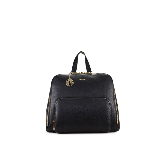 BLACK DKNY TUMBLED LEATHER ZIP TOP BACKPACK