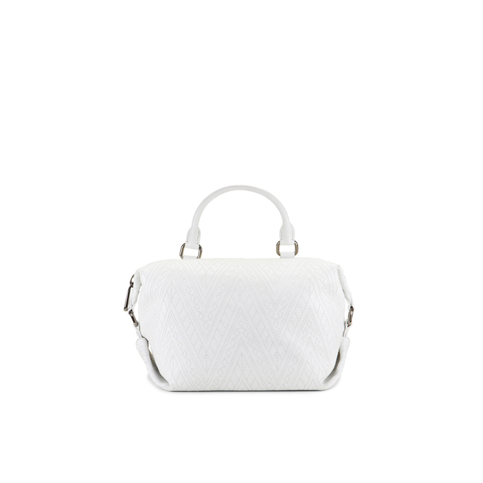 WHITE DKNY QUILTED LEATHER SMALL SATCHEL