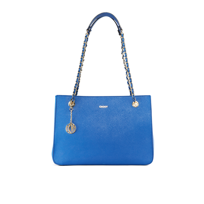 BLUE DKNY SAFFIANO LEATHER CHAIN SHOPPER
