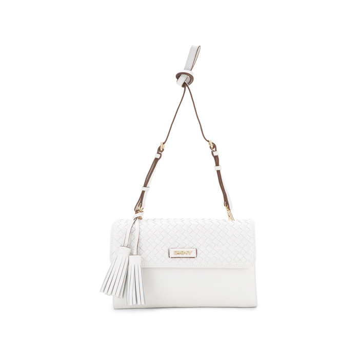 WHITE DKNY WOVEN LEATHER CROSSBODY