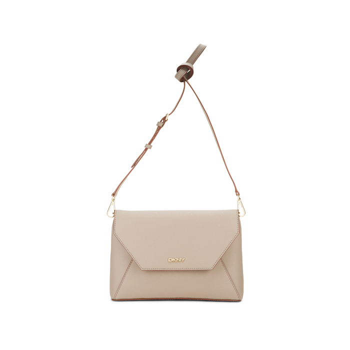 CEMENT DKNY SAFFIANO LEATHER FLAP CROSSBODY