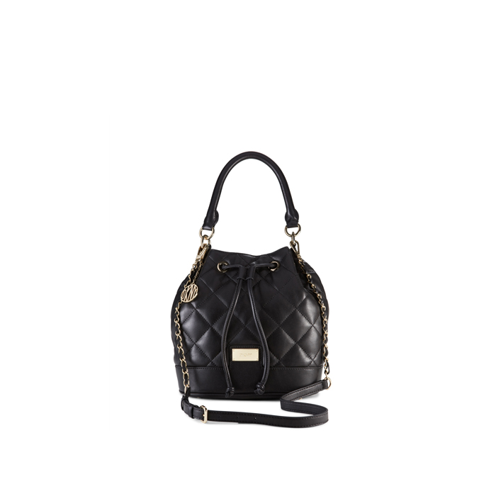 BLACK DKNY QUILTED LEATHER BUCKET BAG