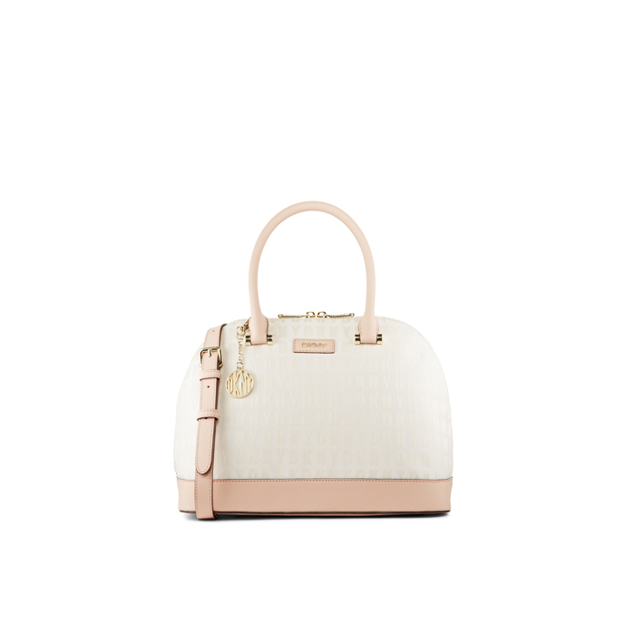 HEMP-BUFF DKNY HQ SAFFIANO ROUND SATCHEL