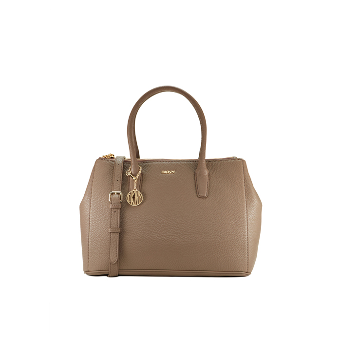 DESERT DKNY TUMBLED LEATHER DOUBLE ZIP SHOPPER