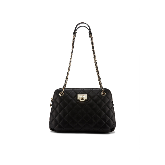 BLACK DKNY QUILTED LEATHER ROUND CROSSBODY