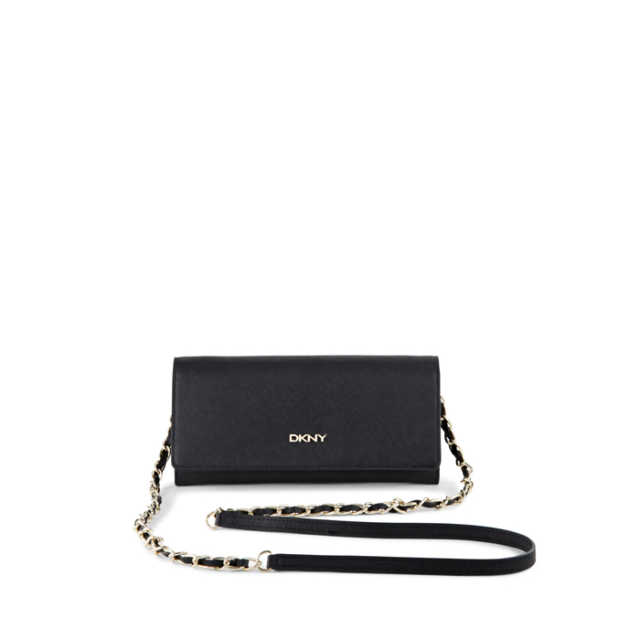 BLACK DKNY SAFFIANO LEATHER WALLET CLUTCH