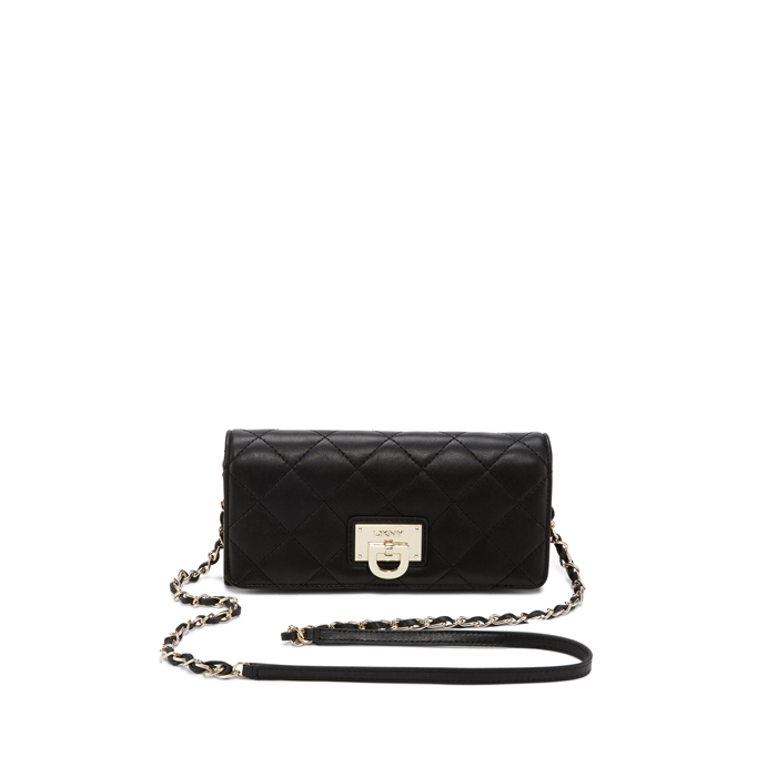BLACK DKNY QUILTED LEATHER WALLET CLUTCH