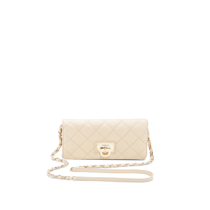 SAND DKNY QUILTED LEATHER WALLET CLUTCH