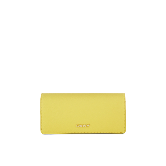 YELLOW DKNY SAFFIANO LEATHER LARGE CARRYALL WALLET