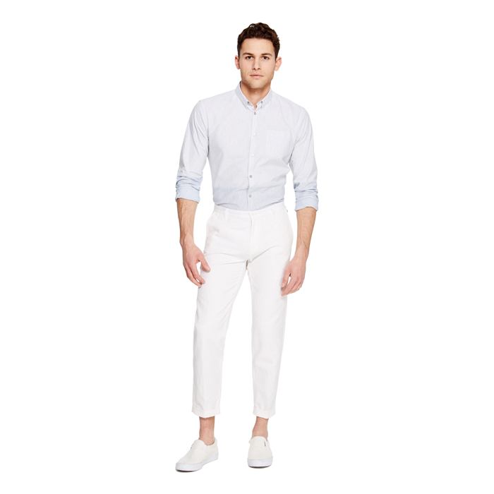 WHITE DKNY CROPPED COTTON LINEN PANT