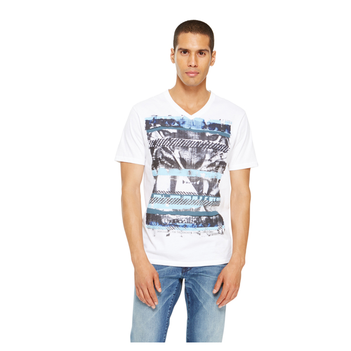 WHITE DKNY JEANS 'THE JUNGLE' V NECK