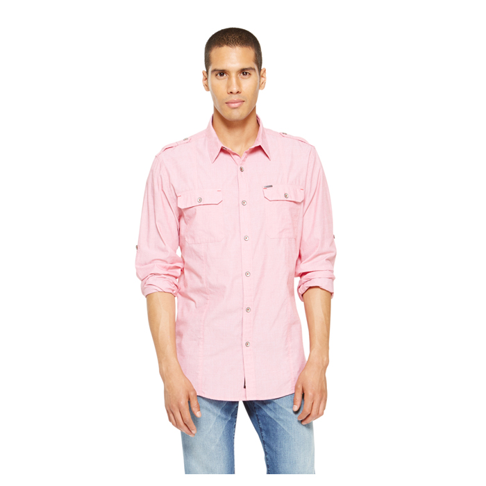 FLARED RED DKNY JEANS CASUAL WASH SHIRT