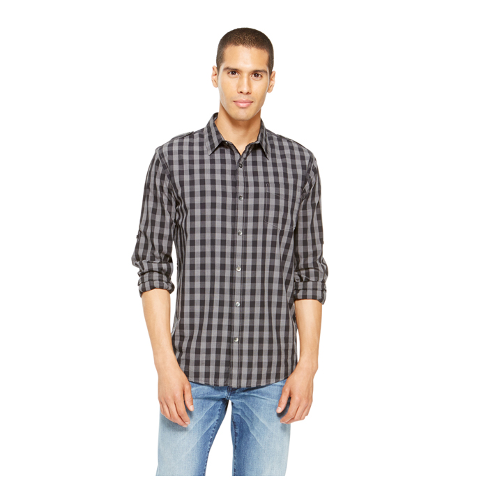BLACK DKNY JEANS GINGHAM CHECK SHIRT