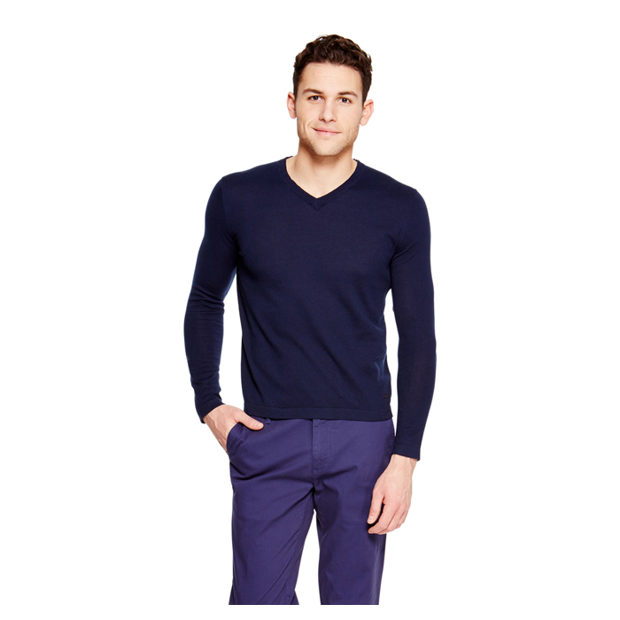 MIDNIGHT DKNY V-NECK COTTON SWEATER