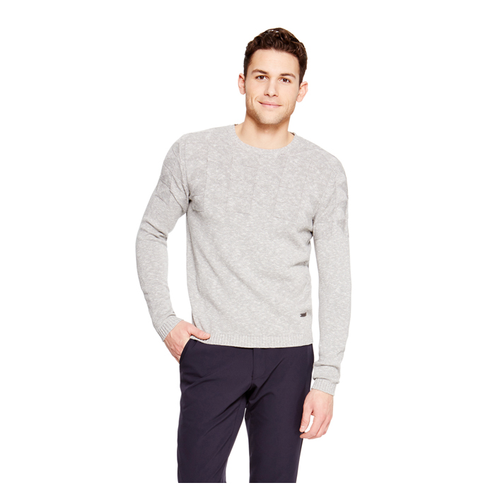 LIGHT GREY MELANGE DKNY GEO STITCH PULLOVER
