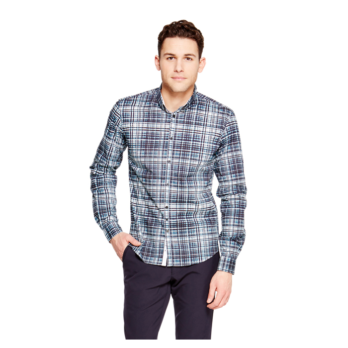PAGODA BLUE DKNY CHECK PATTERN SHIRT