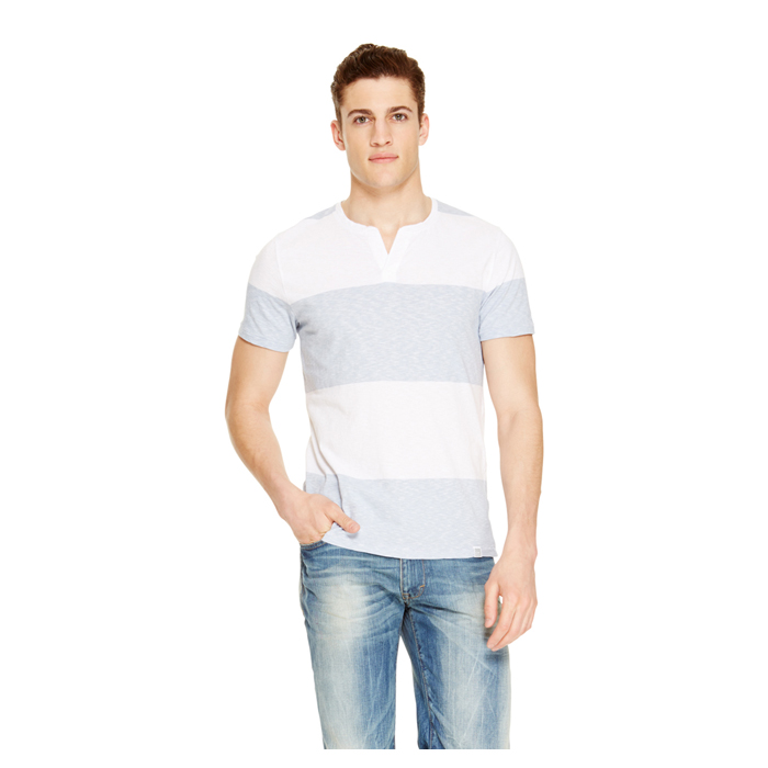 DUSTY BLUE DKNY JEANS STRIPE V-NECK HENLEY