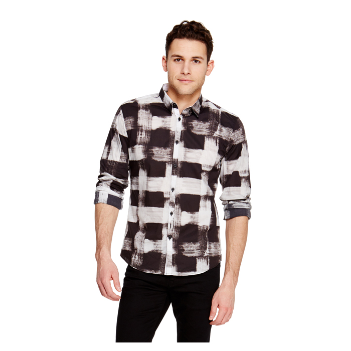 BLACK DKNY SMUDGE CHECK PRINT SHIRT