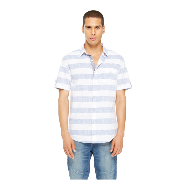 DUSTY BLUE DKNY JEANS STRIPE SHIRT