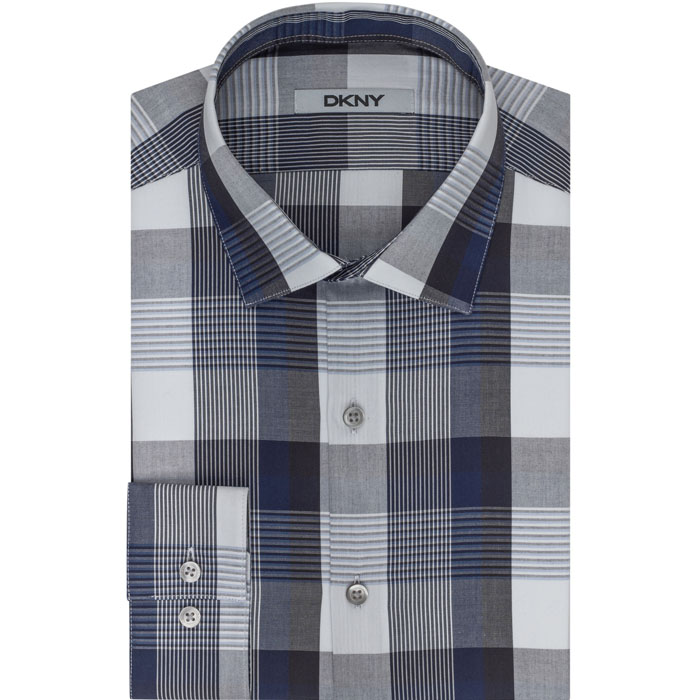 NIGHT BLUE DKNY PLAID DRESS SHIRT