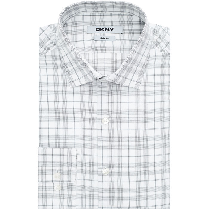 STONE DKNY STRIPED CHECK DRESS SHIRT