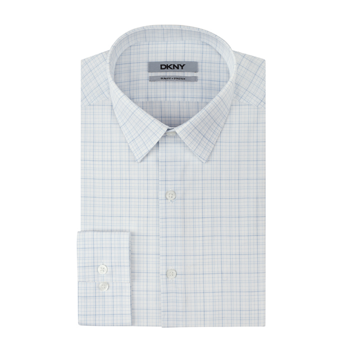 SOFT BLUE DKNY WHITE GRID PLAID DRESS SHIRT