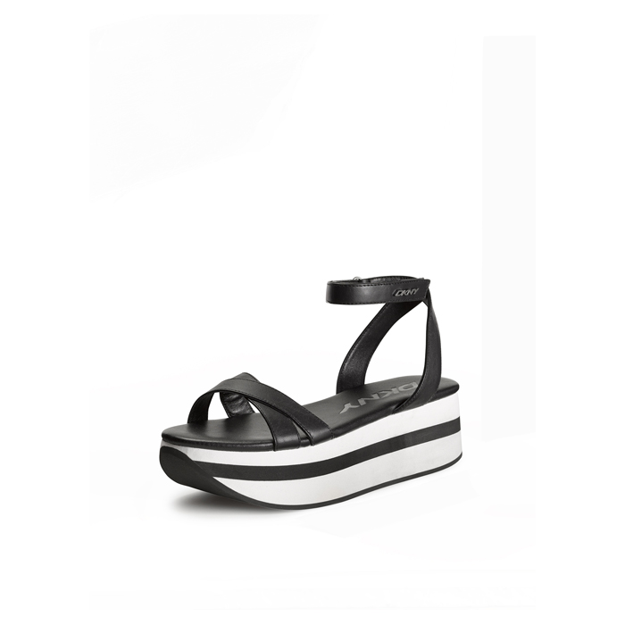 BLACK DKNY VALERIE LEATHER PLATFORM SANDAL
