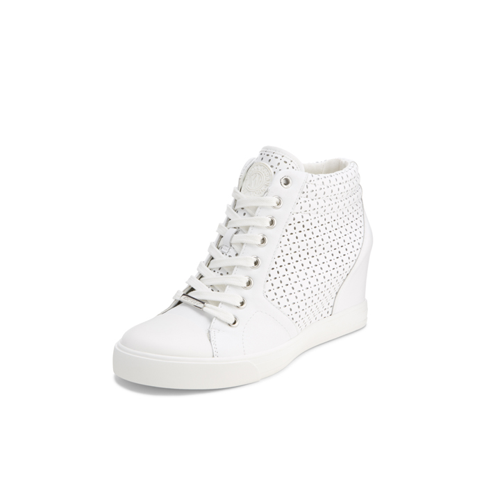 WHITE DKNY CINDY PERFORATED SNEAKER