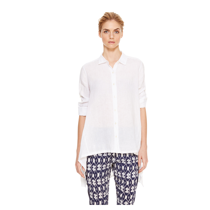 WHITE DKNY DKNYPURE LINEN EXTENDED BACK SHIRT