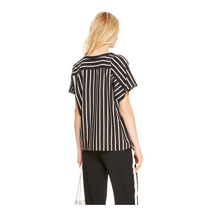 BLACK DKNY OVERSIZED STRIPE TOP