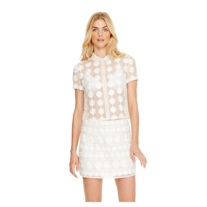 WHITE DKNY FLORAL MESH SHEER SHIRT