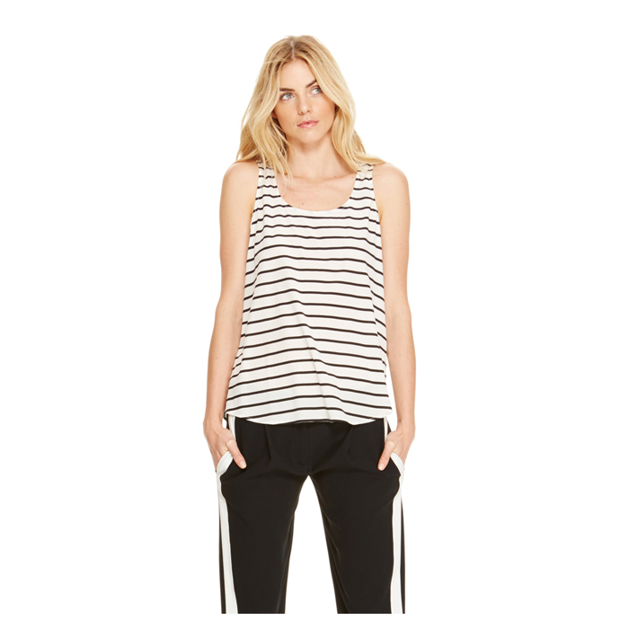OFF WHITE DKNY STRIPED SCOOPNECK TANK