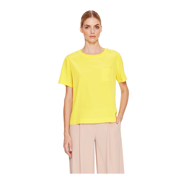 LUX YELLOW DKNY CREPE SHORT SLEEVE TEE