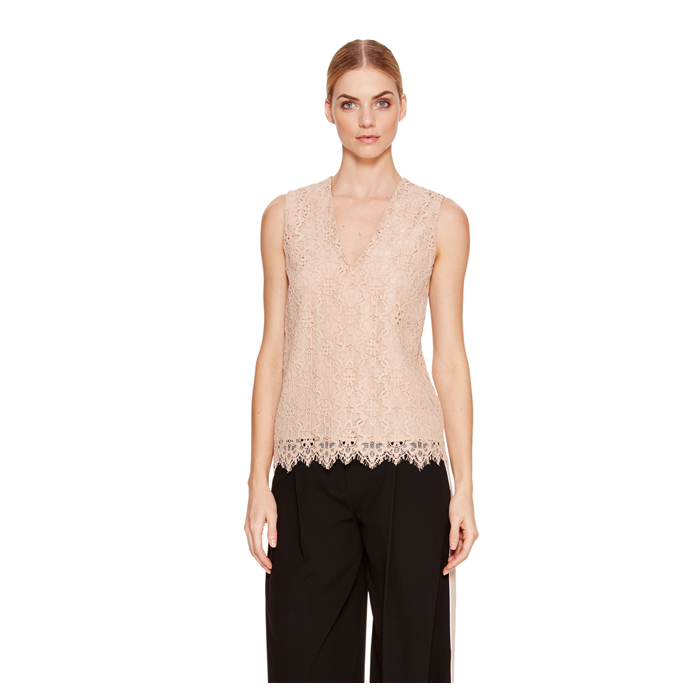 PALE POWDER DKNY SLEEVELESS V-NECK TOP