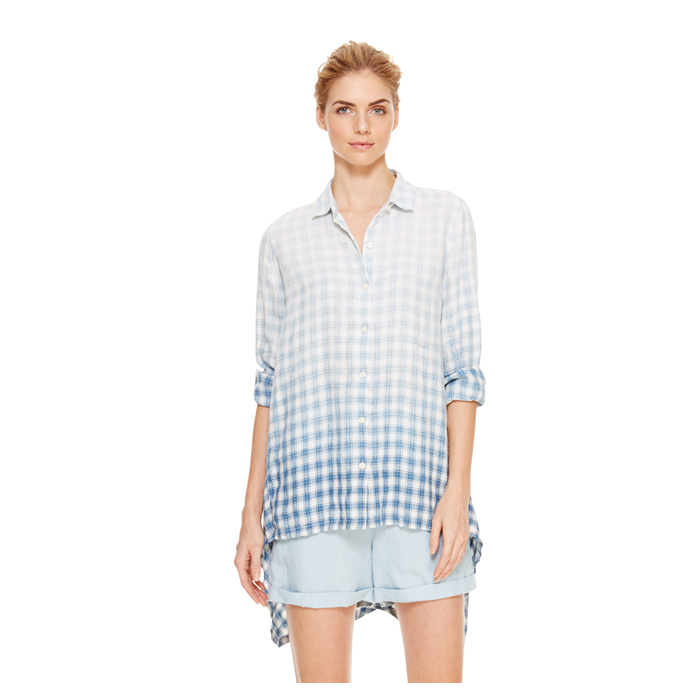 INDIGO DKNY DKNYPURE CHECK BUTTON THRU SHIRT
