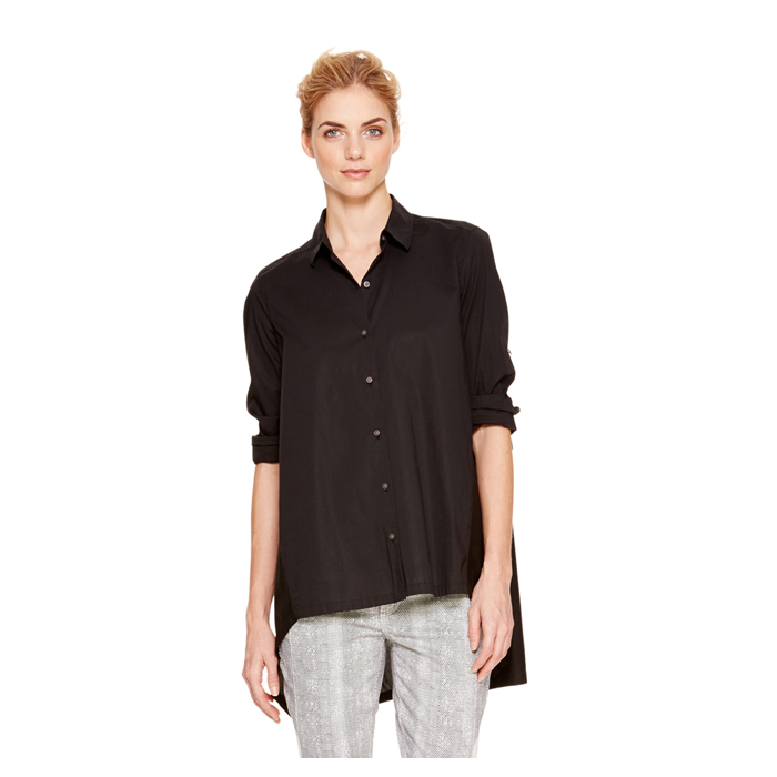 BLACK DKNY DKNYPURE LONG SLEEVE TRAPEZE SHIRT