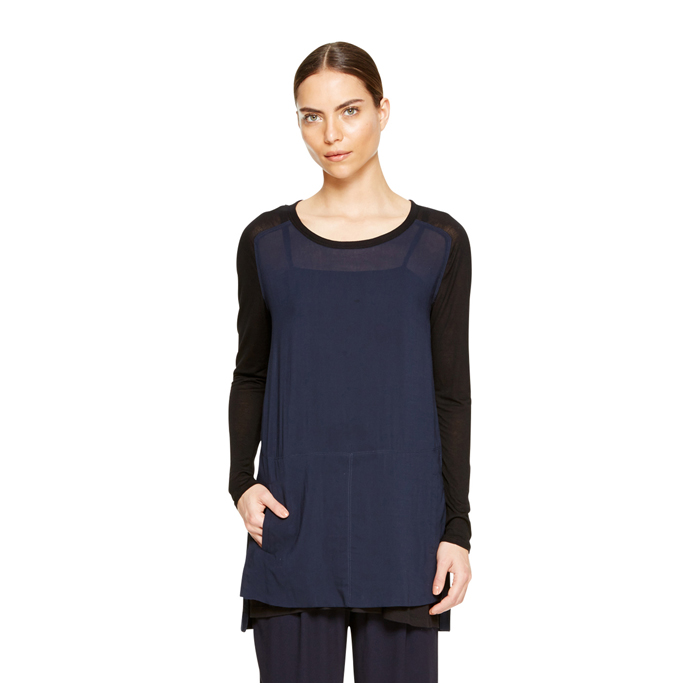 MIDNIGHT DKNY DKNYPURE JERSEY SLEEVE TUNIC