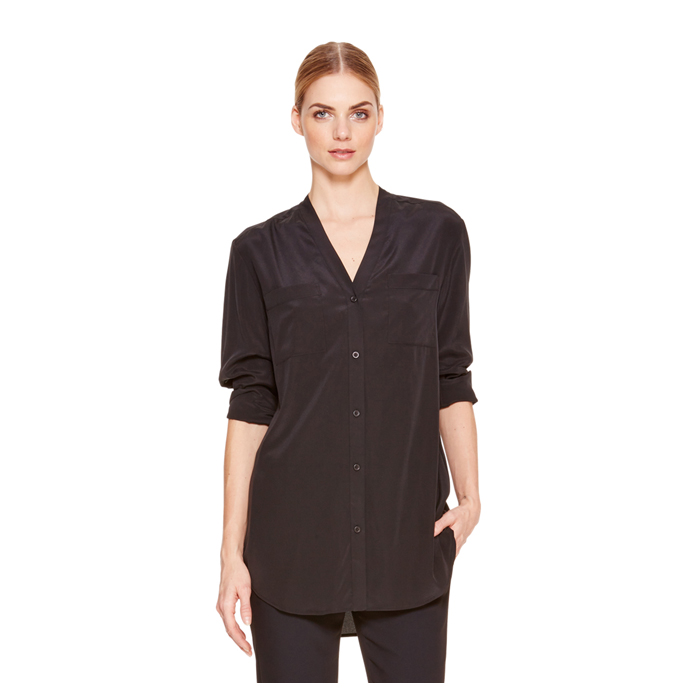 BLACK DKNY CREPE V-NECK SHIRT