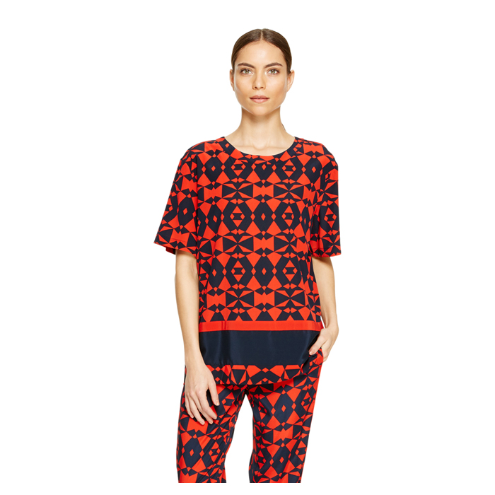 INK DKNY GEOMETRIC PRINT BLOUSE
